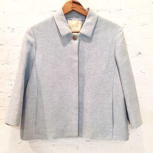 Maje light blue tweed-like linen cotton blazer